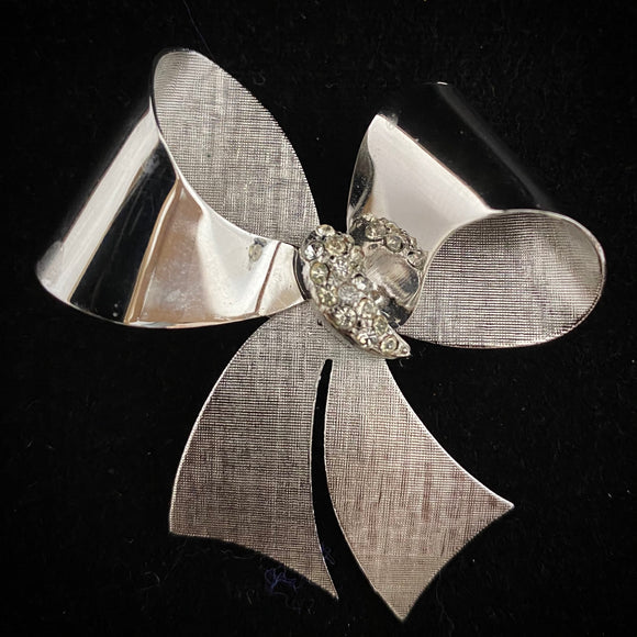 Late 50s/ Early 60s Coro Silver-Tone & Rhinestone Bow Brooch