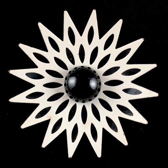 Late 60s/ Early 70s Black & White Enamel Flower Brooch - Retro Kandy Vintage