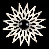 Late 60s/ Early 70s Black & White Enamel Flower Brooch