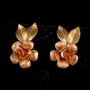 Late 50s/ Early 60s Krementz Rose Earrings - Retro Kandy Vintage