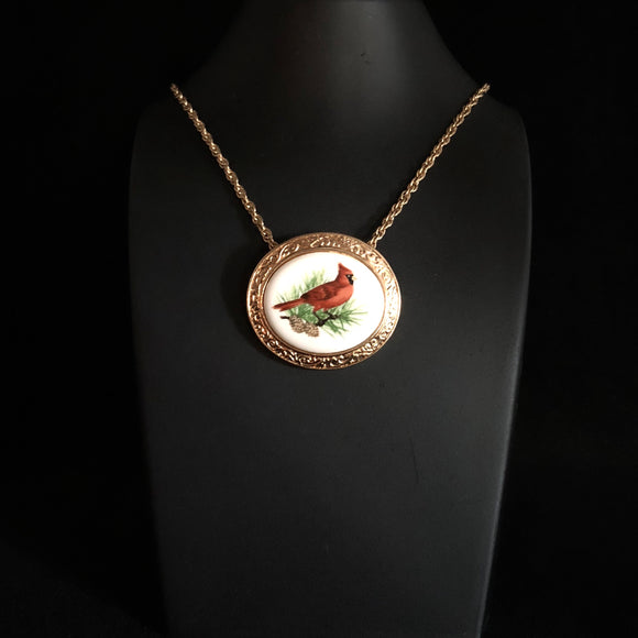 1982 Avon Birds of Nature Necklace/Brooch, Winter