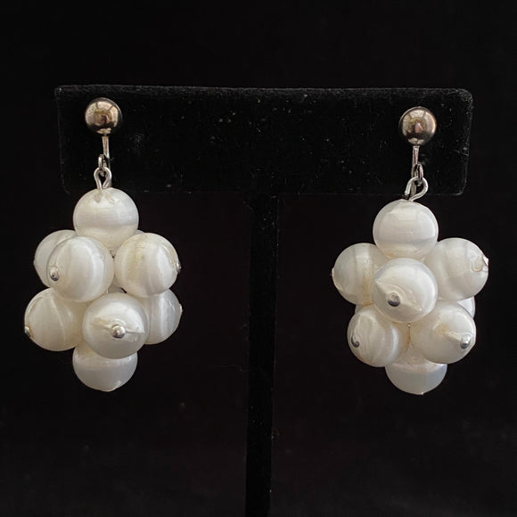 1967 Sarah Coventry White Satin Earrings