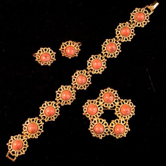 1970s Sarah Coventry Valencia Brooch, Bracelet & Earring Set - Retro Kandy Vintage