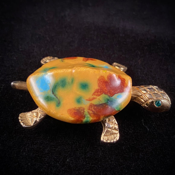 Late 60s/ Early 70s JJ (Jonette Jewelry) Turtle Brooch - Retro Kandy Vintage