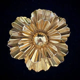1960s Polished Gold-Tone Flower Brooch