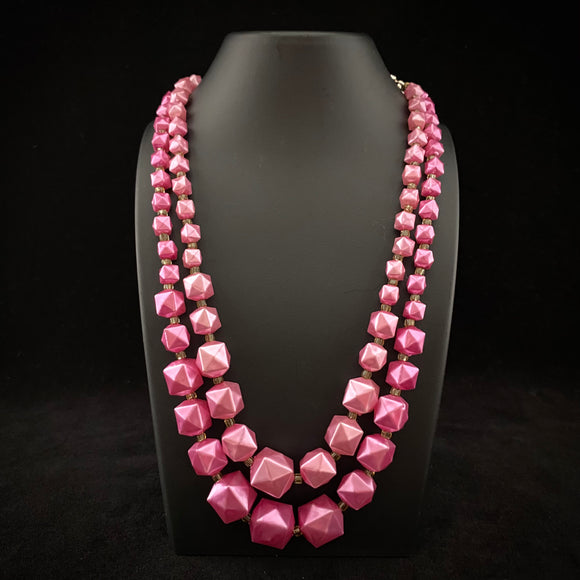 1960s Hong Kong Pink Bead Necklace
