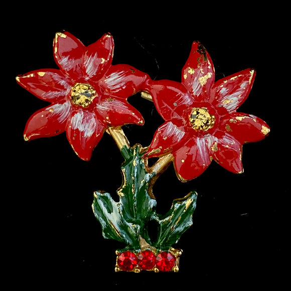 1960s BJ (Beatrix Jewelry) Poinsettia Brooch - Retro Kandy Vintage