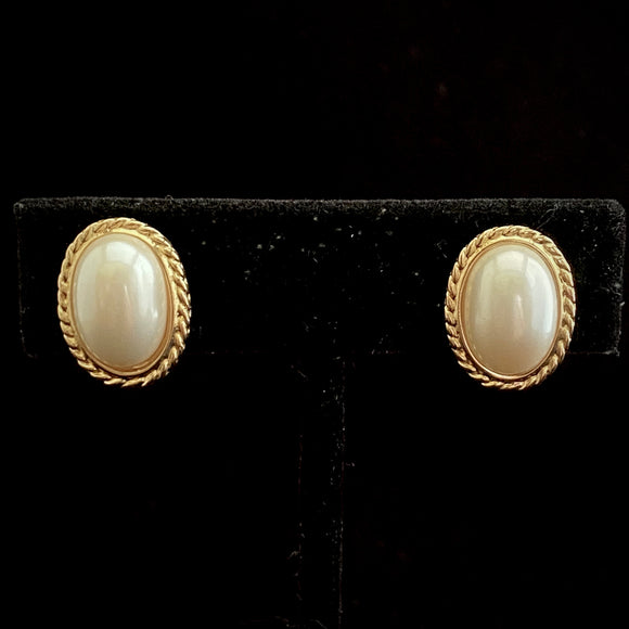 1980s Crown Trifari Pearl Cabochon Earrings