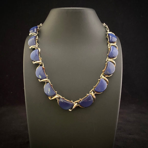 Late 50s/ Early 60s Coro Blue and Silver Necklace - Retro Kandy Vintage