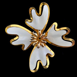 Late 60s/ Early 70s Gold & Ivory Enamel Flower Brooch - Retro Kandy Vintage
