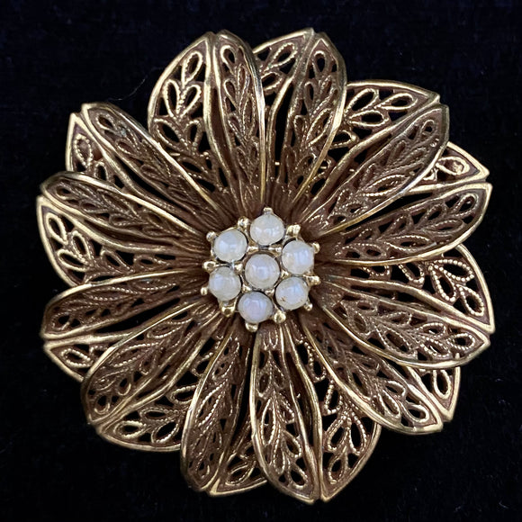 1970s Filigree Flower Brooch