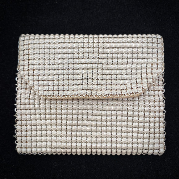 1940s White Enamel Mesh Change Purse