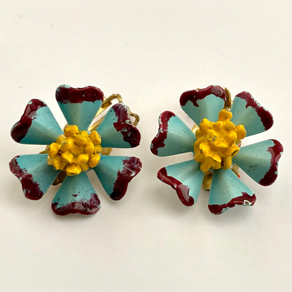 Late 60s/ Early 70s Unique Enamel Flower Earrings