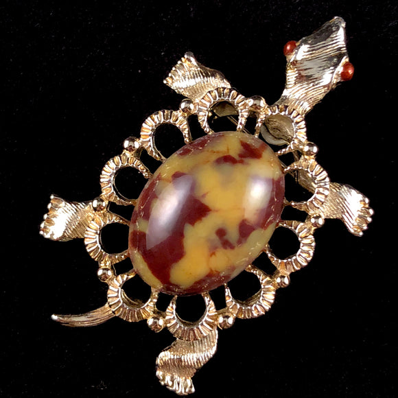Late 60s/ Early 70s Gerry's Large Stone Turtle Pin/Pendant - Retro Kandy Vintage