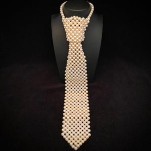 1960s Faux Pearl Beaded Neck Tie Necklace
