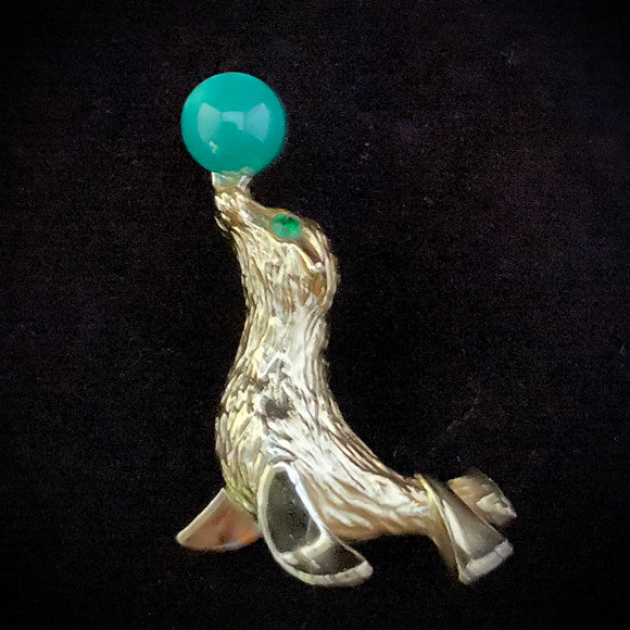 1960s Gerry's Circus Seal Brooch - Retro Kandy Vintage