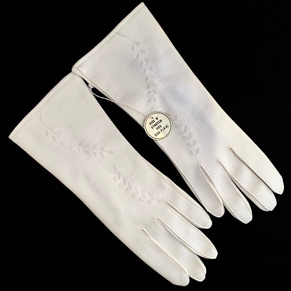 1950s *NEW* White Stretch Gloves - Retro Kandy Vintage