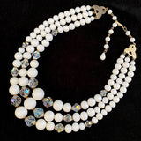 Late 50s/ Early 60s Laguna Glass Bead & Crystal Necklace - Retro Kandy Vintage
