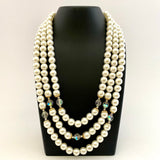 1960s Japan Faux Pearl & Crystal Bead Necklace