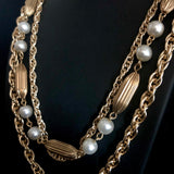 1960s Gold & Pearl 3 Strand Necklace