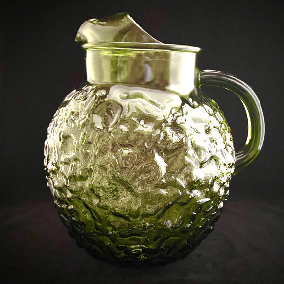 1970s Green Glass Pitcher