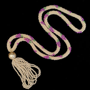1960s Woven Pearl Bead Necklace With Tassel
