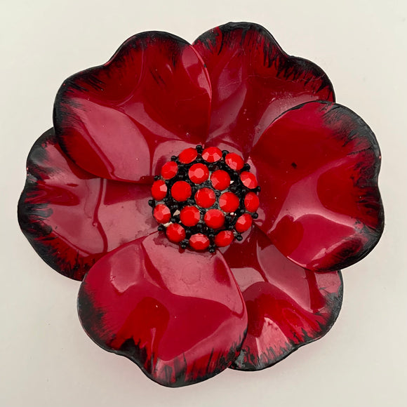Late 60s/ Early 70s Red Enamel Flower Brooch