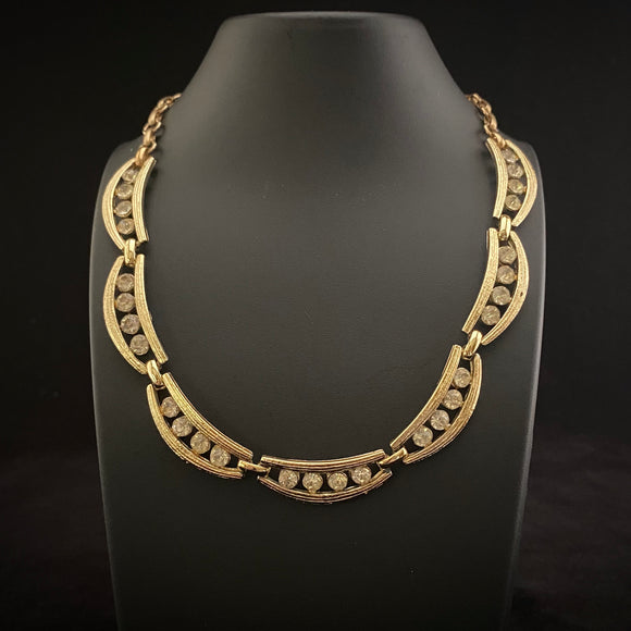 Late 50s/ Early 60s Coro Gold & Rhinestone Necklace - Retro Kandy Vintage