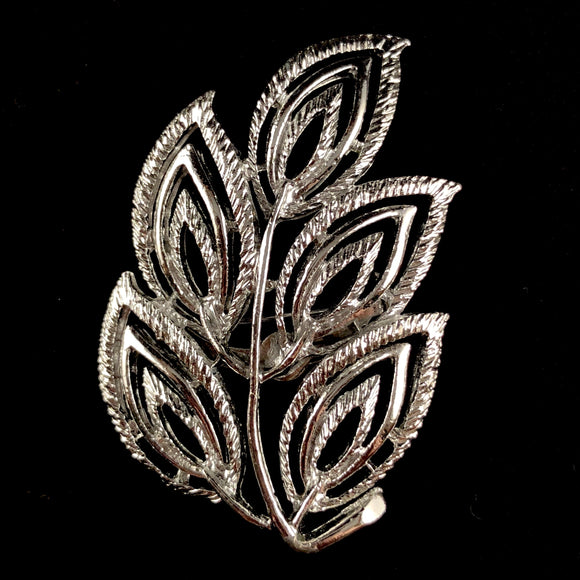 Late 60s/ Early 70s Gerry's Silver Leaf Brooch - Retro Kandy Vintage