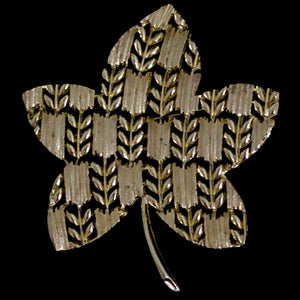 1960s Linser Gold-Tone Leaf Brooch