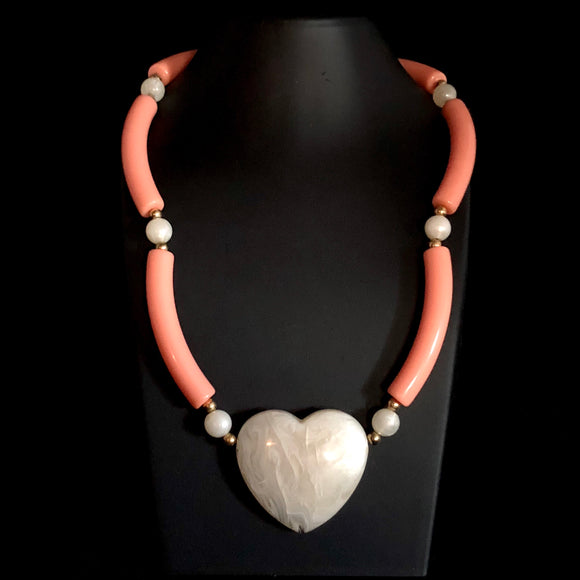 1988 Avon Modern Heart Necklace, Peach/White