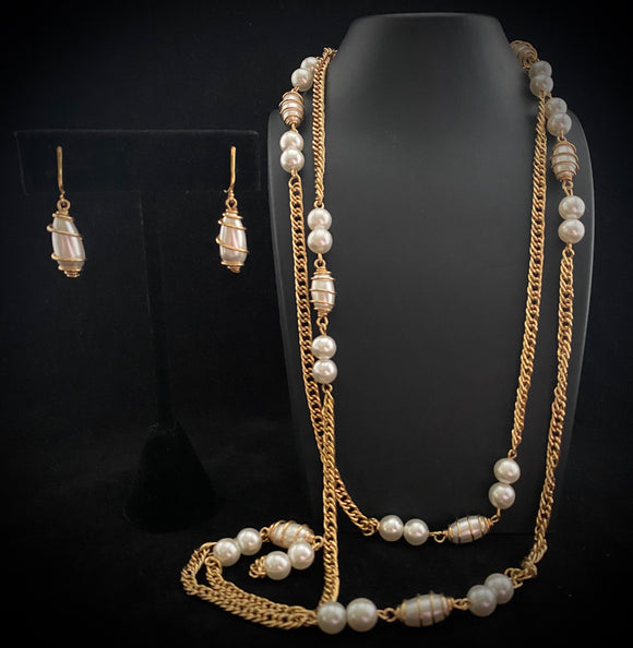 1970 Sarah Coventry Caged Pearl Demi Parure