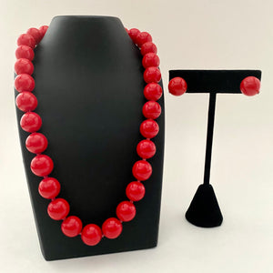 1980s Japan Red Bead Necklace & Earrings