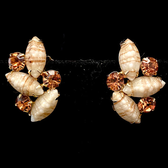 1950s Weiss Rhinestone & Stone Earrings