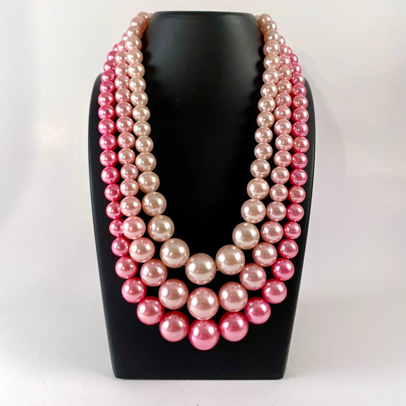 1960s Japan 3-Strand Bead Necklace