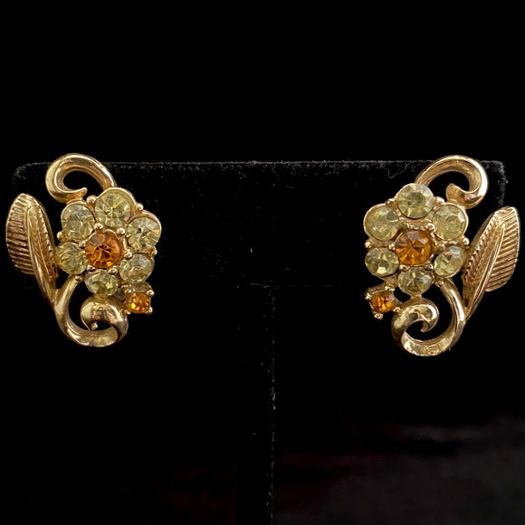 1950s Coro Rhinestone Flower Earrings - Retro Kandy Vintage