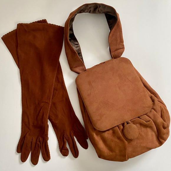 Mid to Late 30s Crown Lewis Suede Handbag With Original Matching Gloves