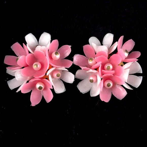 1960s Japan Pink Flower Earrings - Retro Kandy Vintage