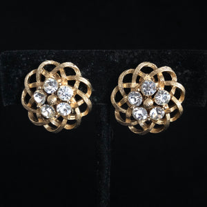 1960s Lisner Open Weave, Rhinestone Earrings - Retro Kandy Vintage