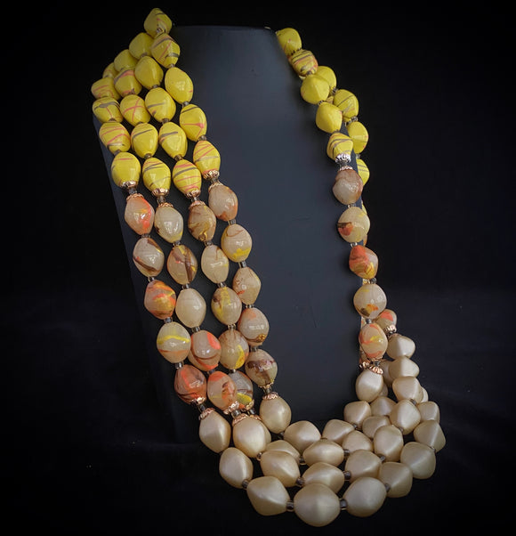 1960s Hong Kong 4-Strand Bead Necklace