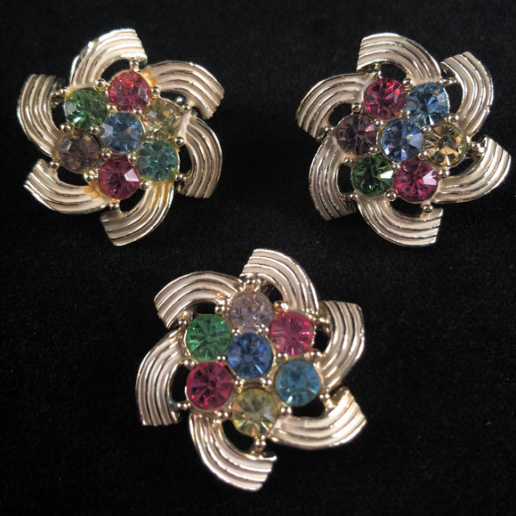 1960 Sarah Coventry Color Spray Brooch & Earrings - Retro Kandy Vintage