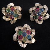 1960 Sarah Coventry Color Spray Brooch & Earrings