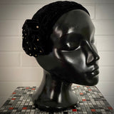 1940s Black Velvet Juliet Helmet Hat