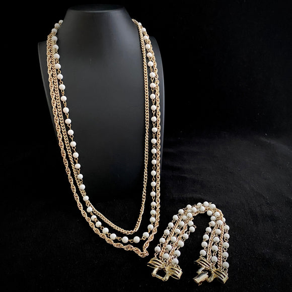 1960s Coro Graduated Necklace & Bracelet Parue - Retro Kandy Vintage