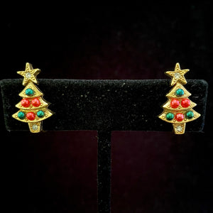 1995 Avon Colorful Christmas Tree Earrings - Retro Kandy Vintage