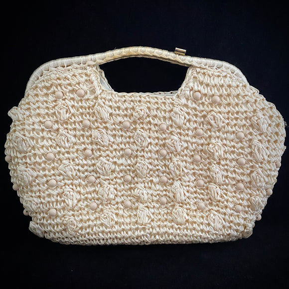 Late 60s/ Early 70s Made In Japan Raffia & Bead Bag - Retro Kandy Vintage