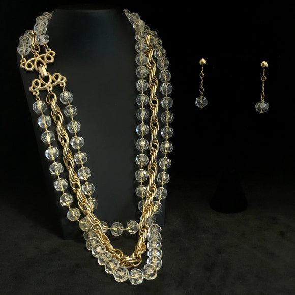1976 Sarah Coventry Golden Ice Necklace & Earrings
