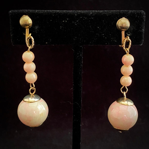 1960s Hong Kong Pink Marbled Bead Earrings
