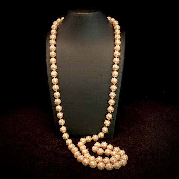 1980s Monet Hand Knotted Faux Pearl Necklace