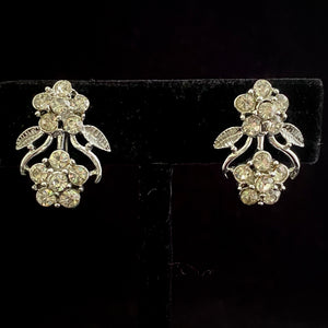 1960s Coro Silver Rhinestone Flower Earrings - Retro Kandy Vintage
